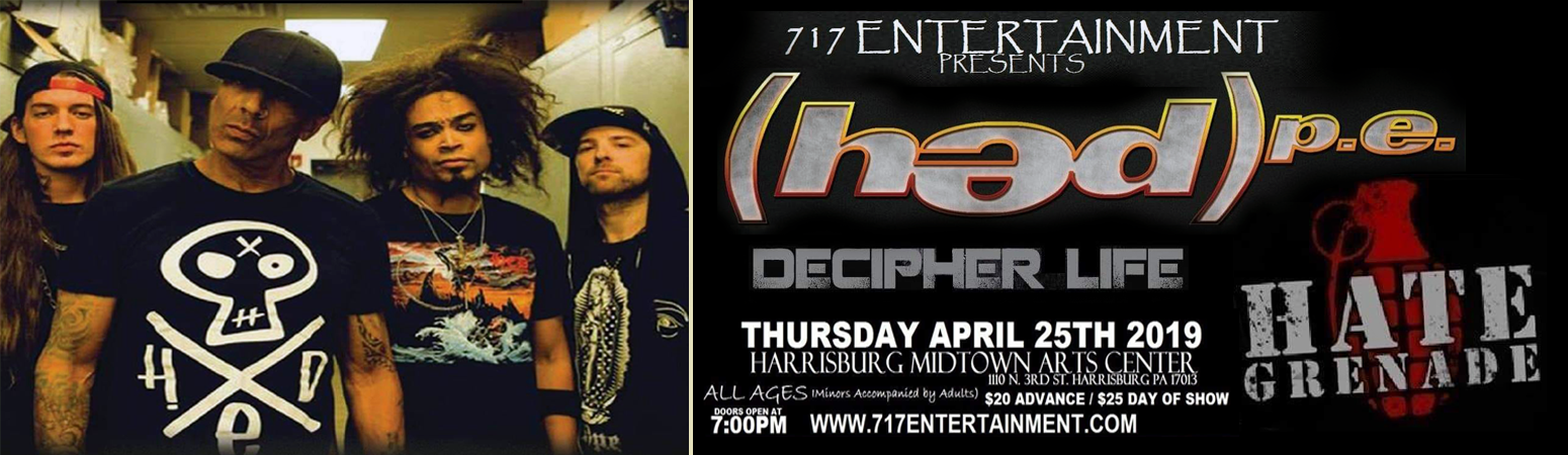 717 Presents: Hedpe w/ guests Decipher Life and Hate Grenade.  Thursday - April 25th.  ALL Ages.